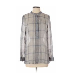 Theory checkered plaid silk blouse | Size S